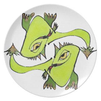 Goldene Augen-Drache-Platte Melaminteller