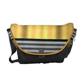 Goldene Beschaffenheitsblick Rickshaw-Bote-Tasche Kurier Taschen