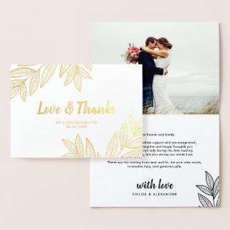 Goldene Blätter-Liebe u. Dank, die Foto Wedding Folienkarte