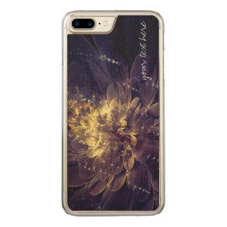 Goldene blaue Blume iPhone 6 Plusholz Carved iPhone 8 Plus/7 Plus Hülle