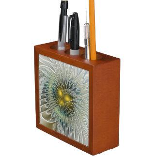 Goldene Blumen-Fantasie, abstrakte Fraktal-Kunst Stifthalter