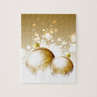 Goldene braune Dekoration des neuen Jahres mit Puzzle