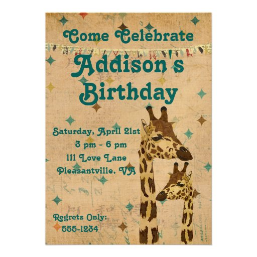 Goldene Bronzegiraffen-Geburtstags-Einladung