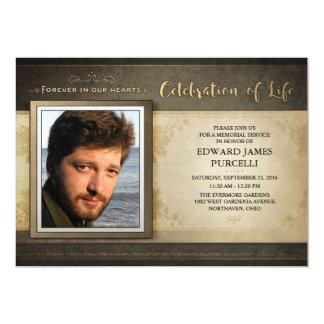 Goldene Brown-Foto-Erinnerungsservice-Einladung Karte