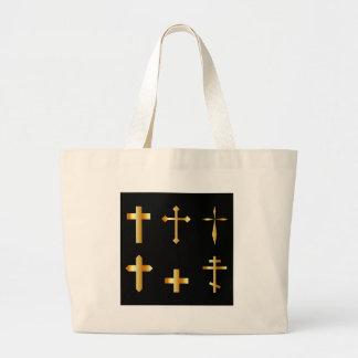 goldene christliche Kreuze in den verschiedenen Jumbo Stoffbeutel