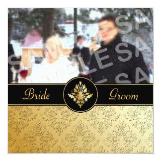 Goldene Damast-Foto-Hochzeits-Einladung Quadratische 13,3 Cm Einladungskarte
