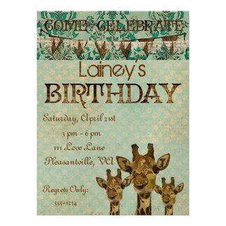 Goldene Damast-Giraffen-Geburtstags-Einladung