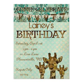 Goldene Damast-Giraffen-Geburtstags-Einladung 16,5 X 22,2 Cm Einladungskarte