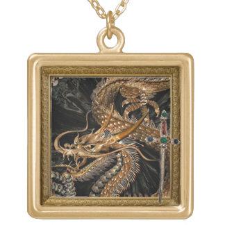 goldene Drache- und Klingehalskette Vergoldete Kette