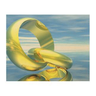 Goldene Eheringe - 3D übertragen Holzleinwand