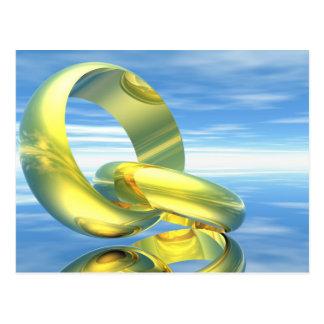 Goldene Eheringe - 3D übertragen Postkarte