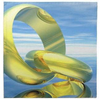 Goldene Eheringe - 3D übertragen Serviette