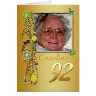 Goldene Foto-Geburtstags-Karte des Garten-92. Grußkarte