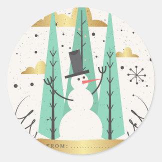 Goldene frohe Weihnachten niedliche Hand Runder Aufkleber
