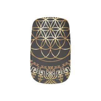 Goldene Frucht der Leben-Nagel-Abziehbilder Minx Nagelkunst