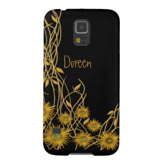 Goldene gelbe Grunge-Blume und Rebe Hülle Fürs Galaxy S5