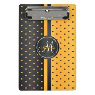 Goldene gelbe und schwarze Tupfen - Monogramm Mini Klemmbrett