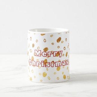 Goldene gemalte frohe Weihnacht-Weiß-Tasse Kaffeetasse