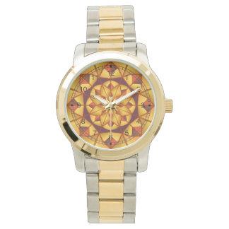 Goldene geometrische blühen armbanduhr