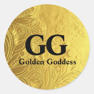 Goldene Göttin feiern glückliches 50. Runder Aufkleber