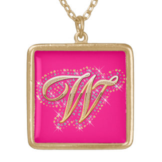 """Goldene Halskette der Initialen-""""W"""""""