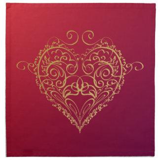 Goldene Herz-Illustration Serviette