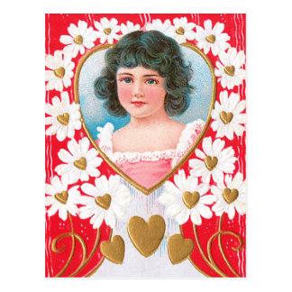 Goldene Herzen und weiße Gänseblümchen Postkarte