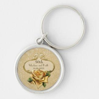 Goldene Hochzeit A des Rosen-Damast-50. Schlüsselanhänger