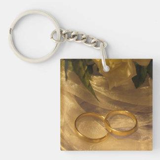 Goldene Hochzeits-Bänder Einseitiger Quadratischer Acryl Schlüsselanhänger