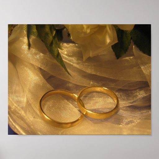 Goldene Hochzeits-Bänder Posterdruck