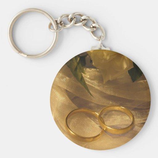 Goldene Hochzeits-Bänder Schlüsselanhänger