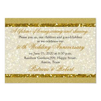 Goldene Hochzeits-Jahrestag des GoldGlitter-50. 12,7 X 17,8 Cm Einladungskarte