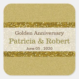 Goldene Hochzeits-Jahrestag des GoldGlitter-50. Quadratischer Aufkleber