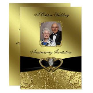 Goldene Hochzeits-Jahrestags-Foto-Einladung Karte