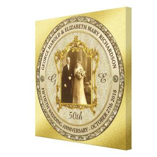 Goldene Hochzeits-Jahrestags-klassischer Gespannter Galerie Druck