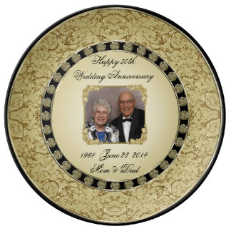 Goldene Hochzeits-Jahrestags-Porzellan-Foto-Platte Porzellanteller