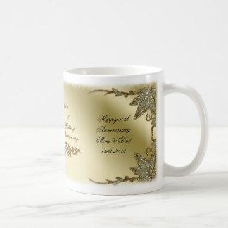 Goldene Hochzeits-Jahrestags-Tasse Tasse