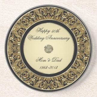 Goldene Hochzeits-Jahrestags-Untersetzer Untersatz