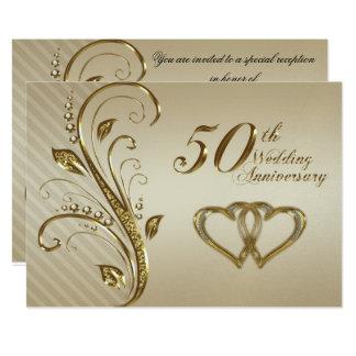 Goldene Hochzeitstag-Einladungs-Karte 12,7 X 17,8 Cm Einladungskarte