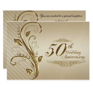 Goldene Hochzeitstag-Einladungs-Karte Karte