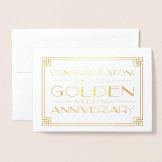 Goldene Hochzeitstag-Glückwünsche Folienkarte