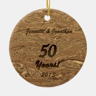 Goldene Hochzeitstag-Verzierung Rundes Keramik Ornament