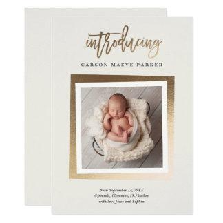 Goldene Intro-Imitatfolien-Foto-Geburtsmitteilung Karte