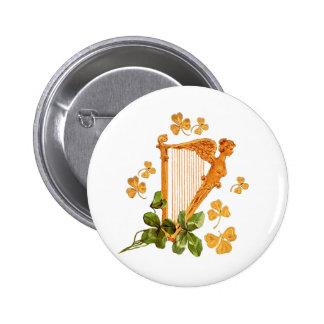 Goldene irische Harfe - Erin gehen Bragh Runder Button 5,7 Cm