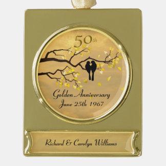 Goldene Jahrestags-Liebe-Vögel Banner-Ornament Gold