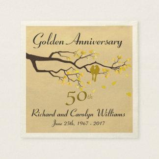 Goldene Jahrestags-Liebe-Vögel Servietten