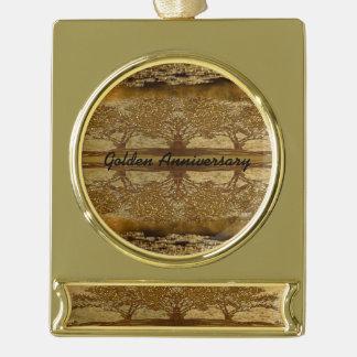 Goldene Jahrestags-Strahlungs-Reflexionen Banner-Ornament Gold