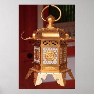 Goldene japanische Laterne Poster