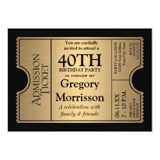 Goldene Karten-Art-laden 40. Geburtstags-Party ein 12,7 X 17,8 Cm Einladungskarte