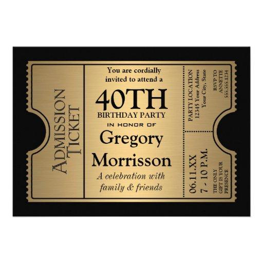Goldene Karten-Art-laden 40. Geburtstags-Party ein Personalisierte Einladungskarte